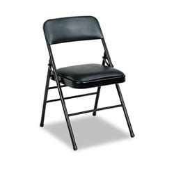 cosco deluxe vinyl padded series folding chairs black