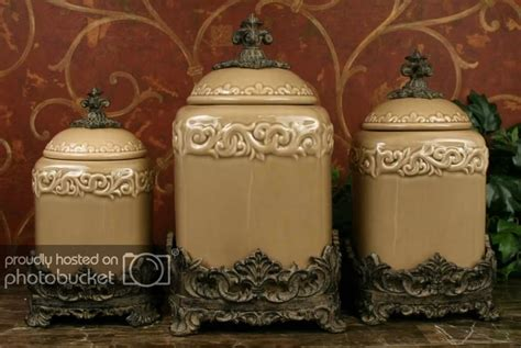 Designer Kitchen Canisters by Tuscan Design Taupe Kitchen Canisters S 3 Ebay