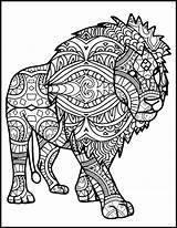Mandala Coloring Lion Pages Adults Animal Printable Adult Animals Drawing Elephant Etsy Tribal Colour King Getcolorings Books Lovers Sheets Nala sketch template