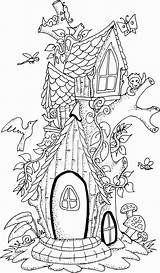 Fairy Tree Coloring Pages Adult Illustration Colouring Hand Drawn Houses Garden Printable Drawings Drawing Colour Vector Detailed Boyama Mushroom Village sketch template