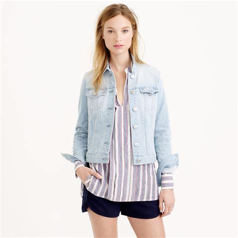 light denim jacket womens j crew stretch denim jacket in pale indigo wash in blue lyst