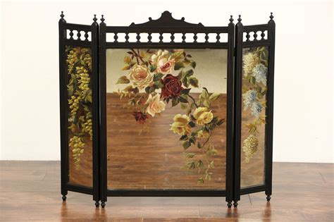 sold fireplace screen cherry trifold mirror