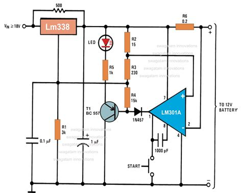 automatic  volt battery charger circuit  ic lm
