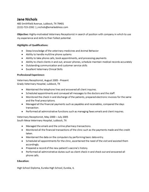 veterinary receptionist description for resume free veterinary receptionist resume template sle ms word