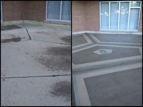 before after garage floor resurfacing tybo concrete coatings repair restoration