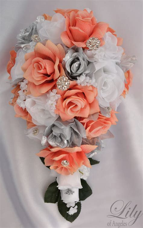 piece package silk flower wedding bridal bouquet