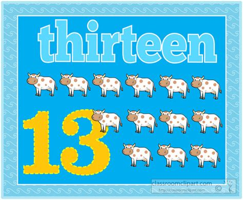 Counting Clipart- Counting-numbers-thirteen-cows