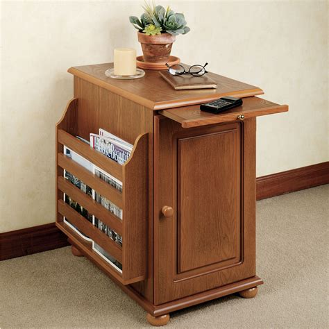 magazine rack table narrow wood end table with pull out tray and door also