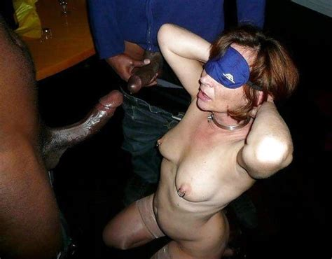 blindfolded wife being used at the latest swinger party interracial sex