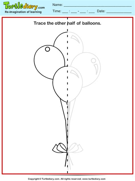 trace balloon worksheet turtle diary