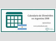Calendario de Efemérides en Argentina 2018 Yi Min Shum Xie