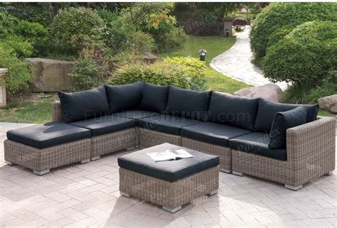 419 outdoor patio 7pc sectional sofa set by poundex w options
