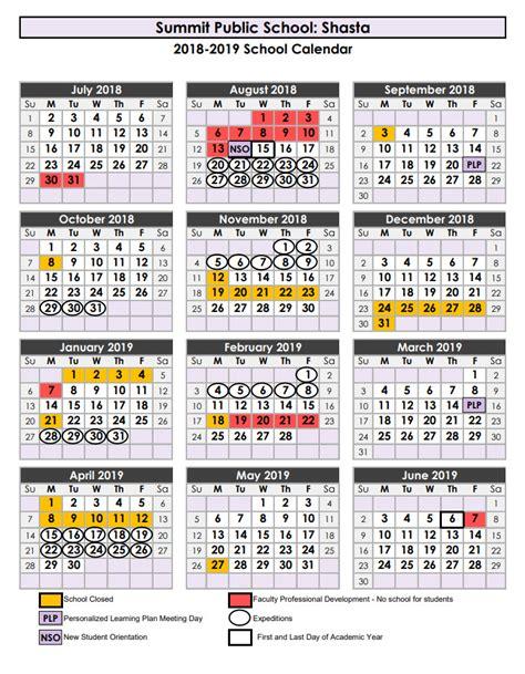 calendars schedules summit shasta public school