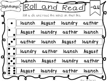 roll and read diphthongs worksheets 10 pages