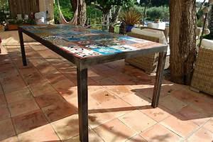 Table Diner Mtal Et Carreaux De Ciment Atelier