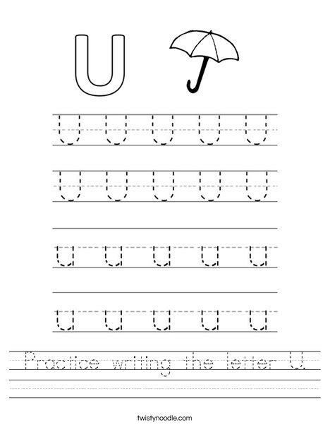 practice writing the letter u worksheet twisty noodle