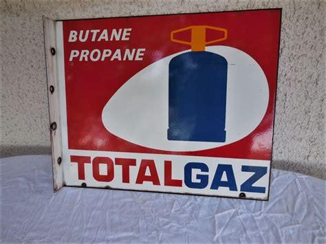 large heavy original enamel sign for butane propane total gaz sign the manufacturer text