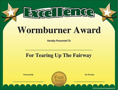 funny golf awards  sports award certificates