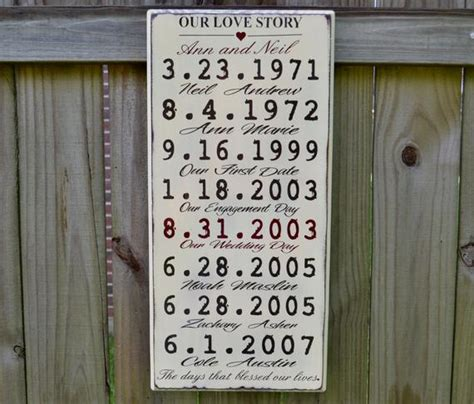 love story wood sign personalized anniversary gift
