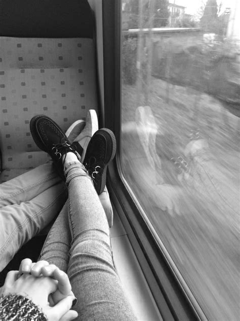 love couple train trip holding hands CP moan-s •