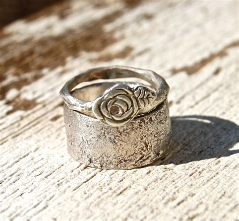wedding rings rose artisan white sapphire narrow band and wide rustic band
