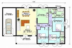 plan maison plain pied 3 chambres 140m2 With plan maison gratuit plain pied 3 chambres