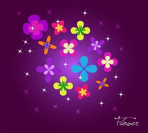 Diverse Background Diverse Colorful Flowers On Purple Background Vector