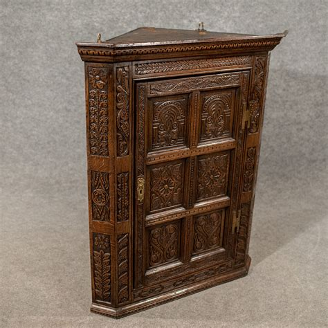 Antique Cupboard by Antique Oak Carved Corner Cabinet Wall Cupboard