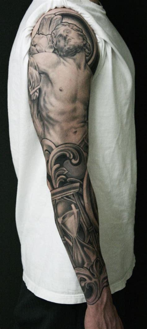 jesus christ religious full sleeve tattoo