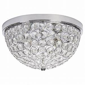 Flush mount light with crystal shade insert quot rona