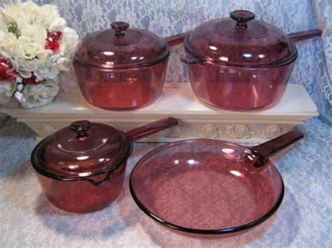 items similar  vintage corning pyrex cranberry visions glass cookware  piece set rare glass
