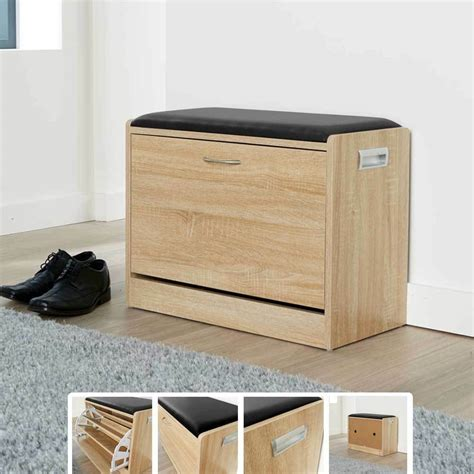 Shoes Cupboard by Ottoman Shoe Cabinet Seat Storage Closet Wooden Rack