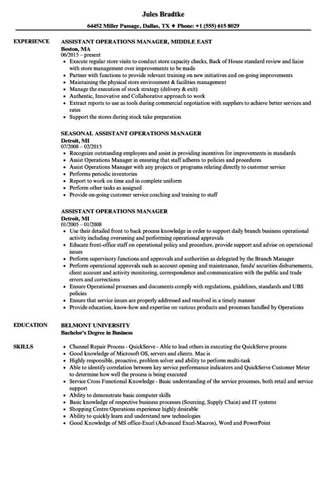 Resume Of Manager Operations by Assistant Operations Manager Resume Sles Velvet