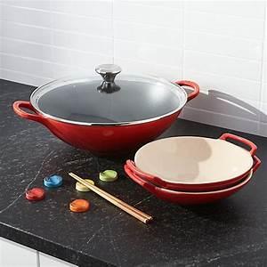 Wok Le Creuset : le creuset cast iron wok set crate and barrel ~ Watch28wear.com Haus und Dekorationen