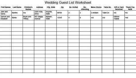 wedding guest list templates excel  formats