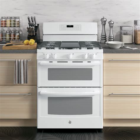 jgbdejww ge   standing gas double oven convection range white