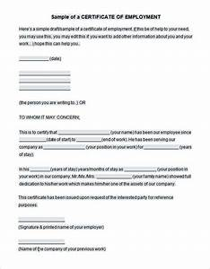employment certificate template heanordirectinfo With document signing certificate free