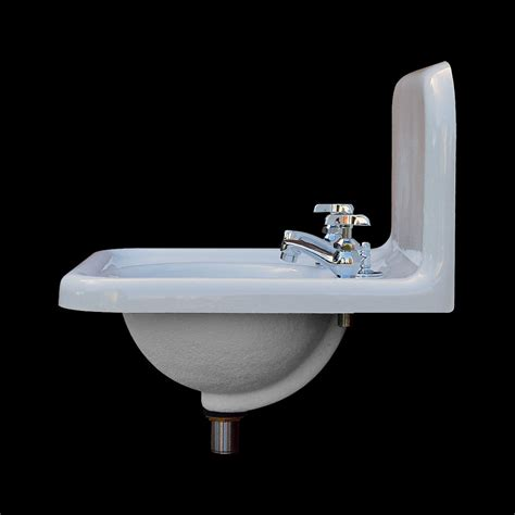 reproduction bathroom sinks single basin high back sink with faucet drain model 1419