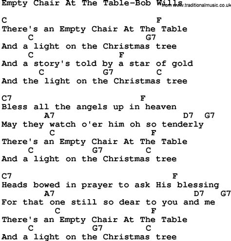 empty chairs at empty tables chords ukulele country empty chair at the table bob wills lyrics