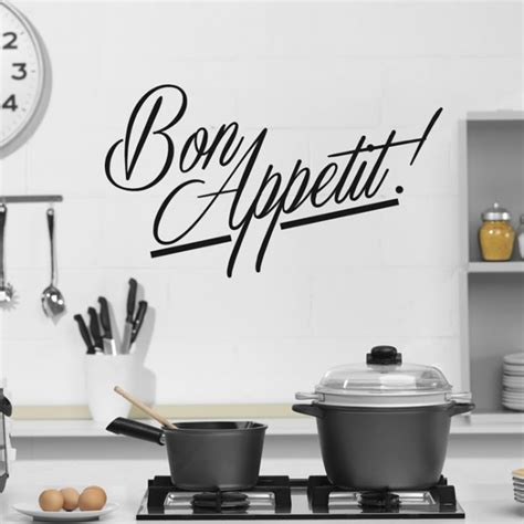 stickers ecriture cuisine bon appetit wall sticker kitchen quotes wall decal cafe