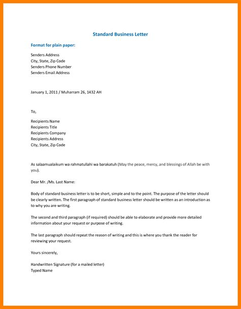 exle of a business letter formal business email template business mail exle 46096