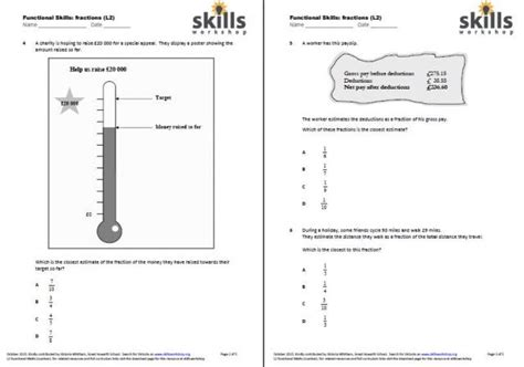functional maths l2 fractions choice worksheet