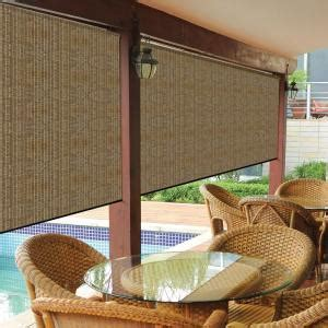 Coolaroo Walnut Cordless Exterior Roller Shade   120 in. W