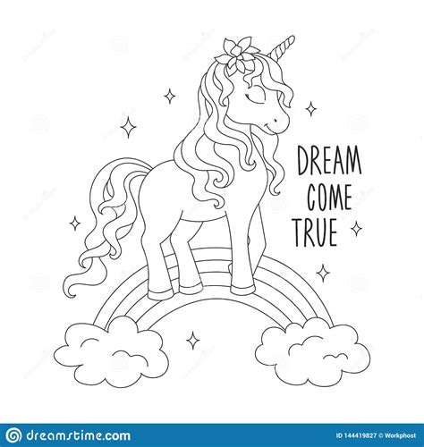 unicorn   rainbow coloring pages dream  true text