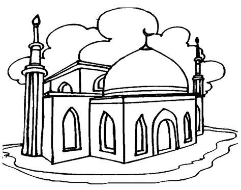 gambar mewarnai gambar masjid untuk anak