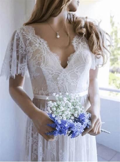 Lace Dresses Neck Short Open Sleeve Bohemian