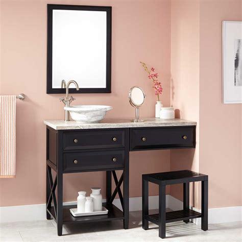 bathroom vanity with sink and makeup area 48 quot glympton vessel sink vanity with makeup area black