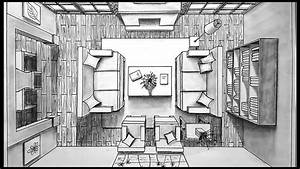 Drawing A Living Room In One Point Perspective | Bird's ...