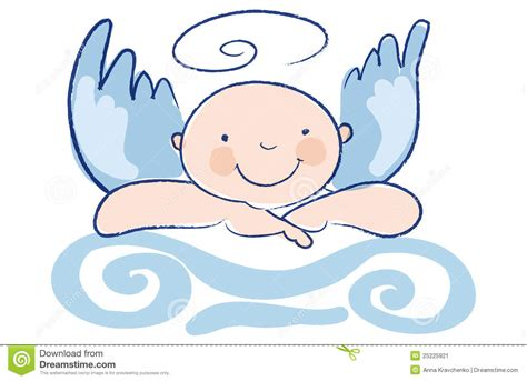 Funny Baby Angel Leans On A Column Stock Image - Image ...
