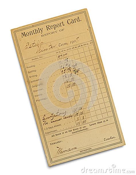 antique report card stock photo image